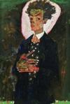 Egon Schiele Self-Portrait with Peacock Waistcoat 1911 Ernst Ploil Vienna