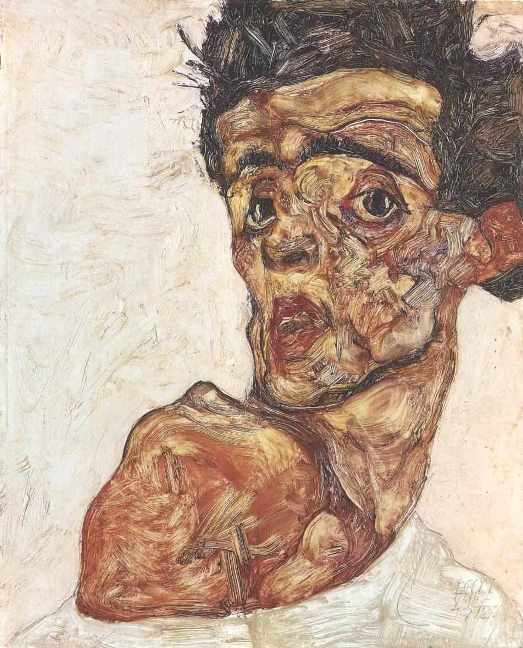 Egon Schiele Selfportrait with raised bare shoulder 1912 Leopold Museum