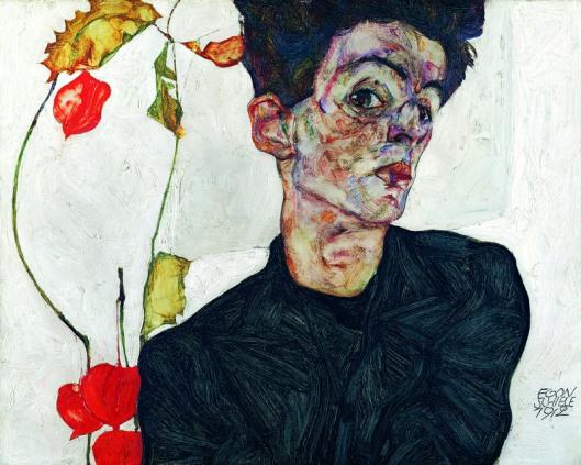 Egon Schiele Self-Portrait with Physalis 1912 Leopold Museum