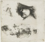 Rembrandt Sheet of Studies with Self-Portrait 1630 34 Rijksmuseum, Etching Second state