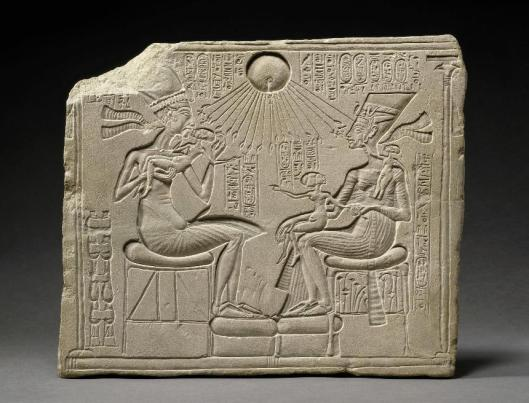 Relief portraying King Akhenaten, Queen Nefertiti and three daughters, 18th dynasty, 1351-1334 BC Berlin