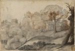 Claude Lorrain Landscape with trees and buildings recto ca 1640 46 Courtauld