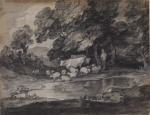 Thomas Gainsborough Wooded landscape with herdsman cows and sheep 1784 85 Courtauld