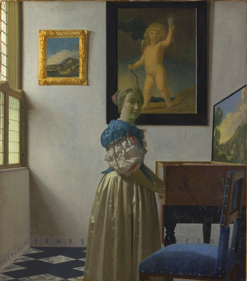 Vermeer Young Woman standing at a Virginal ca 1670 72 NGL