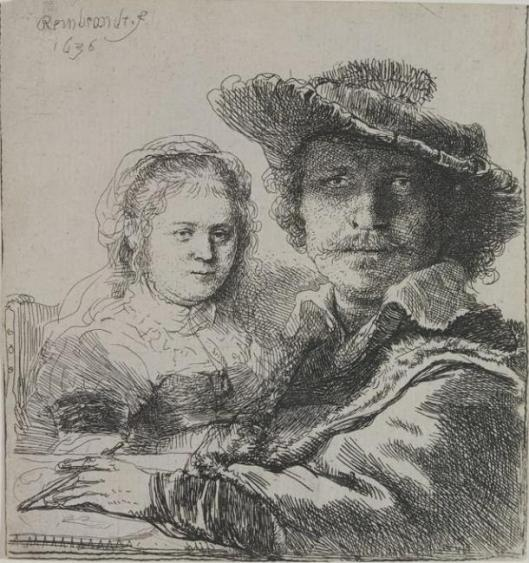 Rembrandt Self Portrait with Saskia 1636 etching