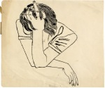 Andy Warhol Pensive Girl Resting Hand on her Head ca 1951
