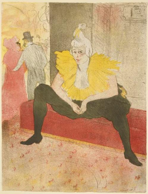 Henri de Toulouse-Lautrec Seated Clowness (Miss Cha-U-Kao) from Elles 1896 lithograph