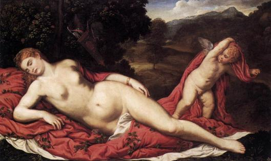 Paris Bordone Sleeping Venus with Cupid ca 1549 Galleria Franchetti Ca' d'Oro Venice
