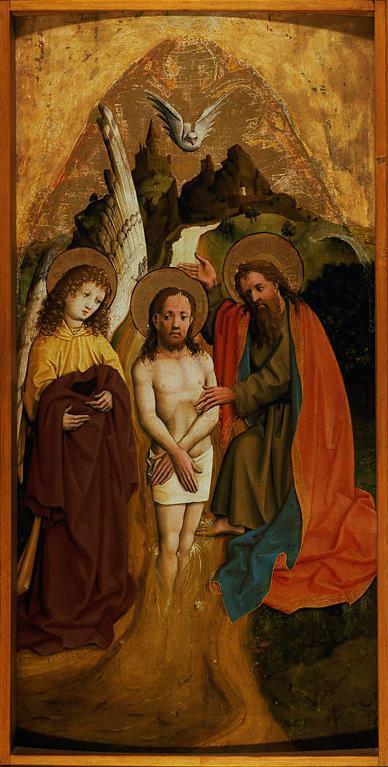 Master of Lichtenstein Castle Baptism of Christ ca 1440 National Museum in Warsaw
