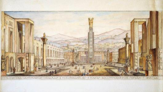 Boris Mikhailovich Iofan Design for the reconstruction of Novorossiysk city Central Square 1944 Tchobam Foundation Berlin