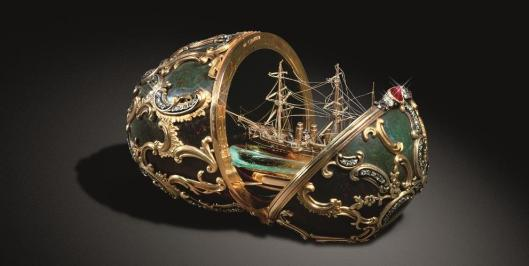 C Fabergé  M Perkhin Easter Egg with Memory of the Azov cruiser 1891 Kremlin Museum Moscow