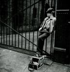 Stanley Kubrick Shoe Shine Boy Mickey with his shoe shine stand 1947