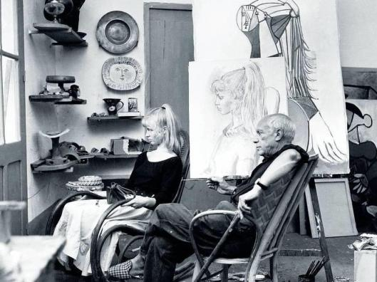 Francois Pages Picasso and Sylvette David in the artist's studio in Vallauris 1954 foto