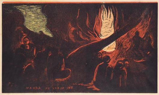 Paul Gauguin Mahna no varua ino (The Devil Speaks) state IV''-IV Noa Noa suite 1893 94 woodcut