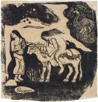 Paul Gauguin Rape of Europa from the Vollard Suite 1898 99 woodcut'