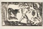 Paul Gauguin Tahitian Carrying Bananas state II-II Vollard Suite 1898 99 woodcut