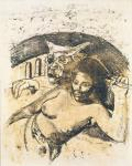 Paul Gauguin Tahitian Woman with Evil Spirit ca 1900 recto oil transfer drawing priv coll