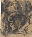 Paul Gauguin Two Marquesans ca 1902 oil transfer drawing Philadelphia Museum of Art