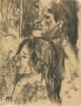 Paul Gauguin Two Marquesans recto ca 1902 oil transfer drawing National Gallery of Art Washington NGA