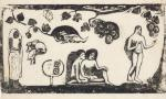 Paul Gauguin Women Animals and Leaves state II-II Vollard Suite 1898 woodcut