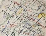 Francesco Cangiullo Large Crowd in the Piazza del Popolo 1914 watercolor gouache pencil priv coll