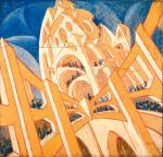 Virgilio Marchi Building Seen from a Veering Airplane (Edificio visto da un aeroplano virante) 1919 20 tempera on canvased paper priv Switzerland