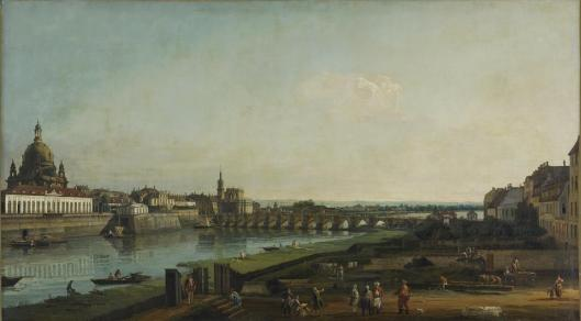 Bernardo Bellotto Dresden from the Right Bank of the Elbe above the Augustus Bridge 1747 Alte Meister Staatliche Kunstsammlungen Dresden