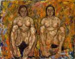 Egon Schiele Two Squatting Women unfinished 1918 Leopold Museum Vienna