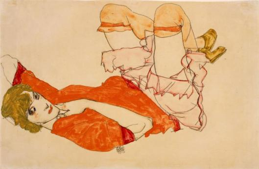 Egon Schiele Wally in Red Blouse with Raised Knees 1913 private collection