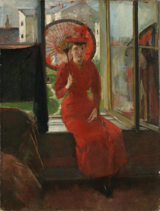 Olga Boznańska Portrait with Japanese Umbrella 1892 MNWr Muzeum Narodowe we Wrocławiu