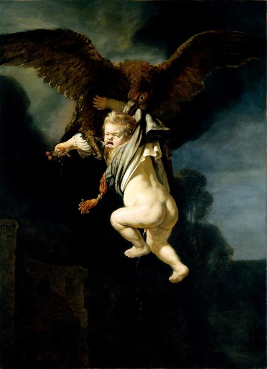 Rembrandt van Rijn Ganymede in the Claws of the Eagle 1635 Alte Meister Staatliche Kunstsammlungen Dresden