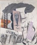 Pablo Picasso Student with a Newspaper 1913 14 plaster oil conté crayon sand Lauder Met New York