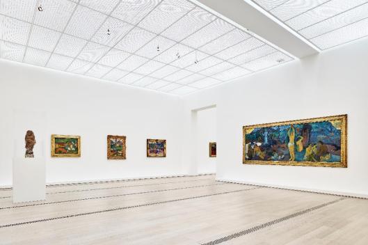 exhibition Paul Gauguin Fondation Beyeler with works Oviri 1894 Arearea 1892 Matamua 1892 Nave nave moe 1894 D'où venons-nous... 1897 98