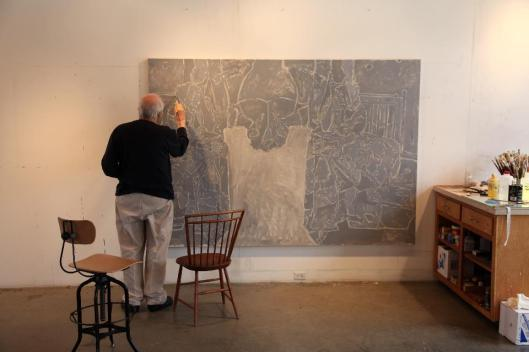 John Lund Jasper Johns at work on Regrets 20 February 2013 foto