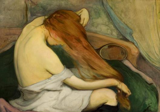 Wladyslaw Slewinski Woman Combing Her Hair 1897 Muzeum Narodowe w Krakowie MNK