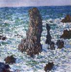 Claude Monet Rocks Pyramids at Port-Coton in the Sun 1886 priv coll