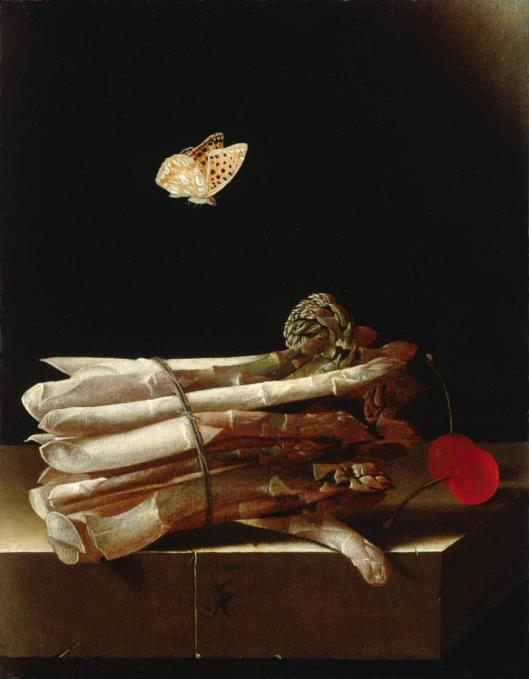 Adriaen Coorte Still Life with a Bundle of Asparagus Red Cherries and a Butterfly ca 1693 95 oil on paper on wood private collection