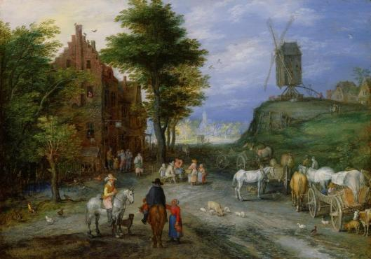 Jan Brueghel the Elder Village Entrance with Windmill 1603 05 oil on copper private collection