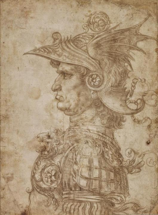 Leonardo da Vinci A Bust of a Warrior ca 1475 80 silverpoint BM London
