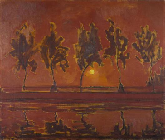Piet Mondrian Trees Along the Gein Rising Moon 1907 Gemeentemuseum Den Haag The Hague