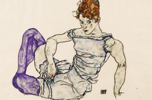 Egon Schiele Seated Woman in Violet Stockings 1917 gouache black crayon priv coll