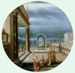 Hendrick van Steenwyck the Younger Figures on a Terrace ca 1615 oil on copper Windsor