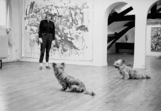 Joan Mitchell with her Skye Terriers at home on the rue Frémicourt ca 1960 photographer unknown