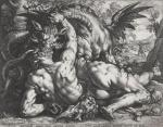 Hendrick Goltzius after Cornelis van Haarlem Dragon Devouring the Comrades of Cadmus 1588 engraving