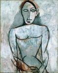 Pablo Picasso Woman with Clasped Hansd study for Les Demoiselles d;Avignon sprong 1907 Musee Picasso Paris