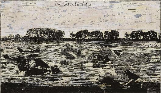 Anselm Kiefer The Rhinemaidens 1982– 2013 collage of woodcuts on canvas with acrylic and shellac Galerie Thaddaeus Ropac