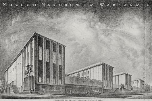 Tadeusz Tołwiński Widok perspektywiczny gmachu Muzeum Narodowego w Warszawie od strony pn-wsch projekt konkursowy 1926 MNW