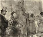 Edgar Degas Ludovic Halévy meeting Mme. Cardinal Backstage ca 1876 77 monotype priv coll Chicago