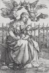 Albrecht Dürer The Virgin and Child crowned by two Angels 1518 engraving