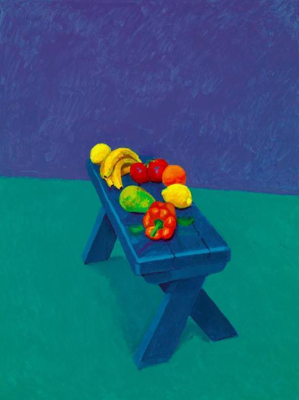 David Hockney, Fruit on a bench
